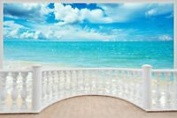 Huge 3D Balcony Exotic Ocean Beach Wall Stickers Decal Wallpaper 345