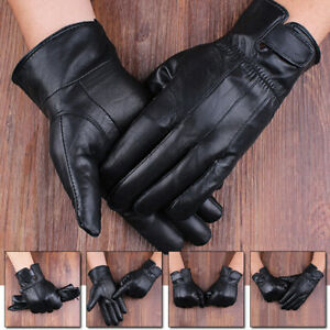 Men's Black Real Leather Gloves Fleece Lined Soft Thermal Driving Gloves AUS