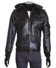 Leather Hooded Bomber, Harrington Coats & Jackets for Men