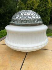 Sensational Vintage Art Deco Milk & Clear Glass Ceiling Light Fixture