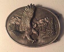 Vintage 1982 Siskiyou The Eagle Pewter Belt Buckle~Eagle Sunset Scene~0-10