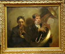 Large 19th Century Italian French Trumpet & Tuba Horn Musicians Antique Signed
