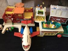 Vintage Big Lot Fisher Price Little People Camper Airplane Family Village & More