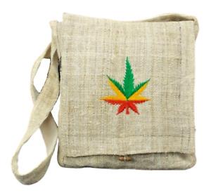 Hemp Purse Pot Leaf Embroidered Hippie Boho Crossbody Shoulder Bag Eco Friendly