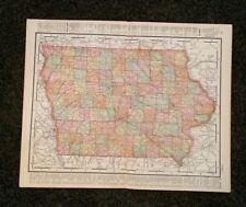 Vintage Original Map 1897 Iowa USA, Eaton & Mains
