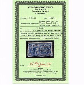 GENUINE SCOTT #E6a FINE MINT OG CERT 1902 BLUE SPECIAL DELIVERY SCV $300