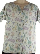 CREST Medium blue scrub top pediatrics hospital - animal print/design
