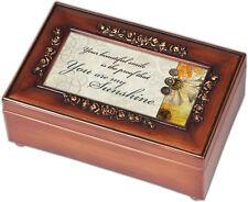 You are My Sunshine Walnut Finish with Brushed Gold Rose Trim Petite Music Box