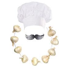 Chef/Cuoco Costume: Cappello + BAFFI + AGLIO CIPOLLA Garland (Giornata Mondiale del Libro)
