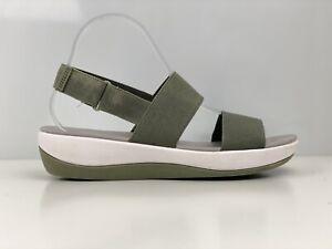 Clarks Arla Jacory Womens Olive Green Fabric Sandal UK Size 7