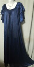 NAVY  BLUE  DOUBLE RUFFLE TRICOT NYLON ANKLE LENGTH NIGHTGOWN  SIZE 1X