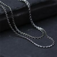 Fine Real S925 Sterling Silver Chain Women Men 2mm O Link Necklace 18inch