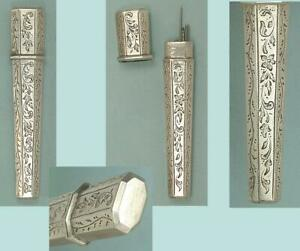 Antique Engraved Sterling Silver Needle Case * English * Circa 1850