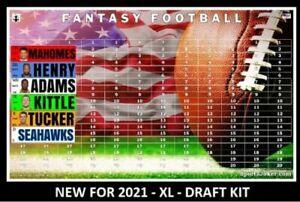 Fantasy Football Draft Board 2021 Kit XL 4 x 1 Labels with NFL ESPN Rookies