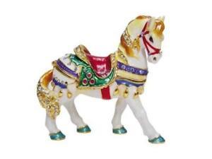 Jeweled Enamel Pewter Carousel Horse Hinged Trinket Jewelry Box Terra Cottage