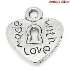 40 Antique Silver Metal Made With Love Heart Charms Pendants Favour 12mm B03706