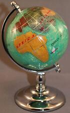 Multi-Gemstone 90mm Desktop Globe in Green Pearl - Chrome Base Free S&H