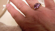 Three-Stone Genuine Amethyst Ring Emerald Trillon 14K Gold Size 7.5 + FREE GIFT