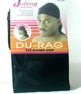 SPORT DU-RAG TIE DOWN CAP BLACK BANDANA HEAD SCARF