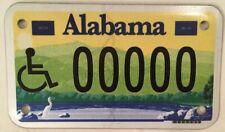 Alabama HANDICAP MOTORCYCLE 00000 PROTOTYPE license plate sample repeating 0
