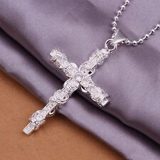 Men's Women's Unisex Sterling Silver Plated Necklace Pendant Cross B90