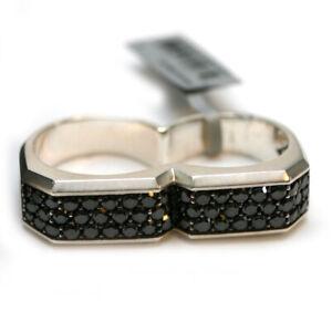 DAVID YURMAN Mens New Black Diamond Sterling Silver Two Finger Ring 9.5