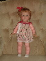 "Kissy Doll Vtg Ideal 22"" Orig Tagged 1310 Sunsuit  White Shoes WORKS Kisses N7"