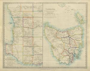 AUSTRALIA. Western Australia & Tasmania. Perth & Hobart. SDUK 1874 old map