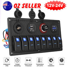 8 Gang LED Rocker Switch Control Panel Circuit Charger 12V 24V-Boat RV Marine