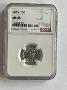 1945 MS65 Mercury Dime NGC Mint State 65 ** Gorgeous!
