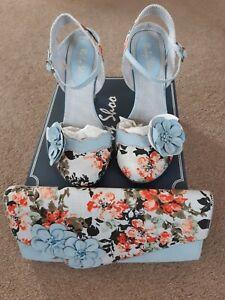 Ruby Shoo Heidi Blue Size 6 & handbag brand new