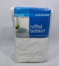 Fresh Ideas Ruffled Bed Skirt 14� Drop Length White New ( Full Size )