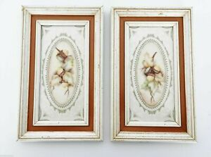 "Lydia ""Acorns"" 2 Piece Mixed Media Paintings Framed 10x6"" (04277)"
