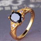 Eye-catching style woman black sapphire 24k yellow gold filled ring Sz5/J-Sz9/R