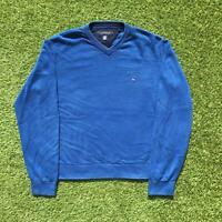 TOMMY HILFIGER Mens V-Neck Jumper Large | Blue Sweater Knit Vintage