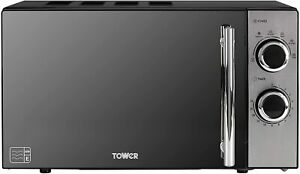 Tower T24015 Manual Solo Microwave, Stylish Mirrored Door, 800W, 20 L, Black
