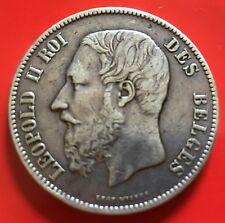 Belgium 5 Francs Leopoldo II 1871