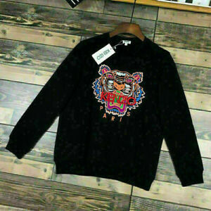 New Men's Women's Kenzo Paris Black Sweatshirts Tiger Embroidered Crew Jumpers