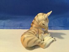 L51 Zebra Lomonosov Porcelain Made In Ussr Figurine Hand Painted-Euc