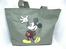 Disney Sequined Mickey Mouse Vinyl Large Shoulder Style Tote Bag Sage Green