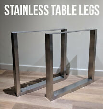 2 x STAINLESS STEEL Metal Table Legs - Box Chunky / Industrial / Dining / Wooden