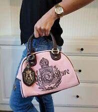RARE Vintage JUICY COUTURE Velour Leather Bowler Purse Handbag Dusty Rose Charms