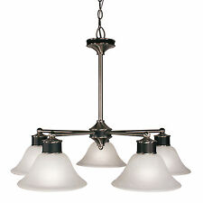 Satin Nickel And Black With Pearl Veined White Glass 5 Light Chandelier