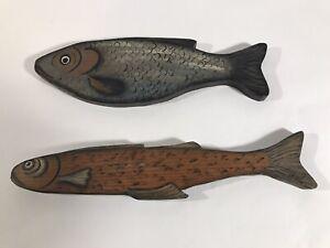 Pair Of Vintage Folk Art Painted Fish Wall Hanging Lake River House Decor