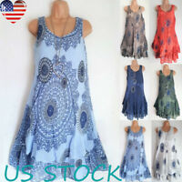 Women's O Neck Sleeveless Casual Sun Dress Floral Print Double-deck Vest Dresses