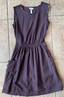 MATILDA JANE Women's Friends Forever Brown MIRANDA Dress w/Pockets Sz XS S