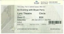 RARE / TICKET CONCERT LIVE - BRYAN FERRY A SALFORD ( ANGLETERRE ) - OCTOBRE 2013
