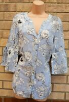 FLORENCE FRED WHITE BLUE STRIPED FLORAL BUTTONED FLARE SLEEVE TOP BLOUSE 14