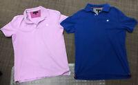 Lot of 2 Banana Republic short sleeve pique polo shirts Large - Lilac And Blue