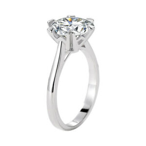 BIG 2 Ct Round Cut Simulated Diamond Promise Engagement Ring 925 Sterling Silver